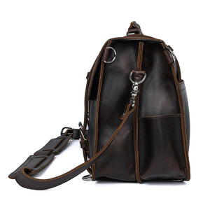 YAAGLE Men's Vintage Multi-functional Tanned Leather Hand briefcase Sling Backpack YG7072R - YAAGLE.com