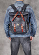 Unisex Fashion Multi-pockets Tanned Leather Travel Backpack YGJWM982 - YAAGLE.com