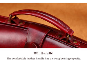 YAAGLE Women Retro Cowhide genuine leather bags Doctor bag Handbag YG0186 - YAAGLE.com