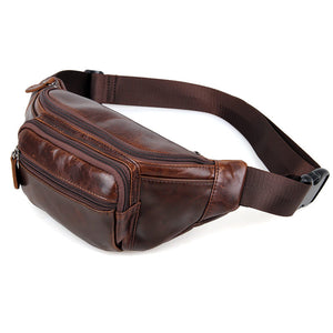 YAAGLE Portable Wax Cow Leather Waist Sling Bag YG7218 - YAAGLE.com