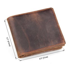 YAAGLE Men's Crazy Horse Leather Wallet Card Slots YG8056R - YAAGLE.com