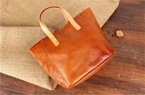 YAAGLE  Simple Style Women Tanned Leather Handbag Tote YG9671 - YAAGLE.com