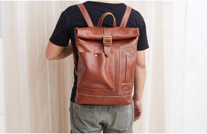 Men's Fashion Genuine Leather Travel Backpack Business Bag YG6396 - YAAGLE.com