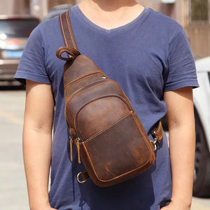 Vintage Full Grain Leather Small Sling Backpack Crossbody Summer Bag YG3722 - YAAGLE.com