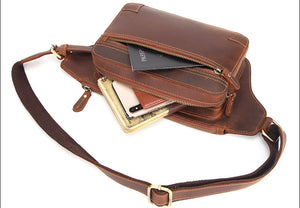 Vintage Handmade Full Grain Leather Waist Bag #M8170 - YAAGLE.com