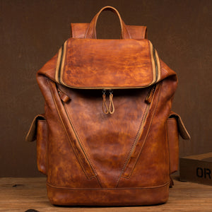 Vintage Handmade Leather Backpack YG1166 - YAAGLE.com