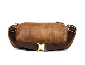 YAAGLE Handmade Cowhide Leather Waist Bag Mens Belt Bag Leather Fanny Pack YG7654