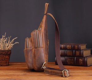 Vintage Full Grain Leather Small Sling Backpack Crossbody Summer Bag - YAAGLE.com