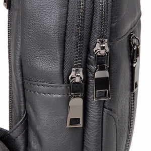 YAAGLE Men's Genuine Leather Sling Backpack Chest Bag YG4004 - YAAGLE.com