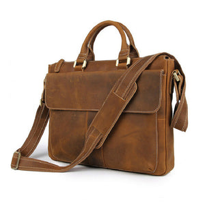 YAAGLE Men's Vintage Crazy Horse Leather Zipper Business Handbag YG7113 - YAAGLE.com