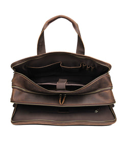 YAAGLE Multi-pockets Crazy Horse Leather Briefcase Handbag for Men YG7387 - YAAGLE.com