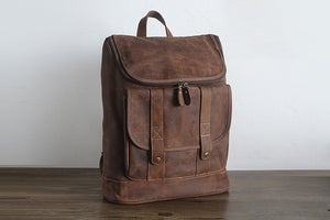 YAAGLE Vintage Unisex Crazy Horse Leather 15 inch Travel Backpack YGPD2089 - YAAGLE.com