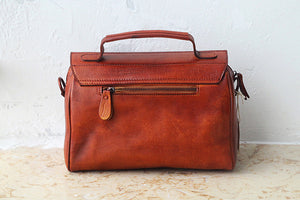 YAAGLE Women Vintage Tanned Leather Flap Shoulder Bag Tote YGPD2099 - YAAGLE.com