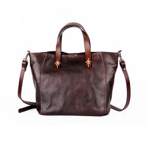 YAAGLE  Simple Style Women Tanned Leather Handbag Tote YG9671