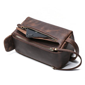 YAAGLE Multi-functional Crazy Horse Leather Cosmetic Handbag YG9049 - YAAGLE.com