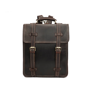 YAAGLE Men's Vintage Multi-layers Crazy Horse Leather Laptop Backpack YGYD8062 - YAAGLE.com