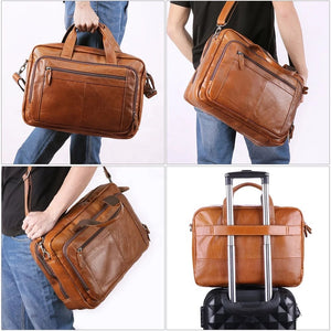 YAAGLE Genuine Leather Computer Messenger Handbag Briefcase YG6476 - YAAGLE.com