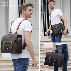 YAAGLE Men's Vintage Leather backpack Satchel Convertible Casual Outdoor Travel School Table Case Multi-Purpose 15.6 Inch Laptop Bag YG7711 - YAAGLE.com