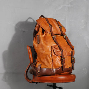 YAAGLE Mens' Unique Large Capacity Tanned Leather Travel Business Backpack YG8622
