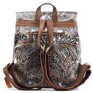 YAAGLE Vintage Embossed Genuine Leather Backpack Women First Layer Cowhide Bag Large Capacity Knapsack Computer Backpack YG7666 - YAAGLE.com