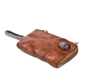 YAAGLE Vintage Key Holders for Men Genuine Leather Male Zipper Key Wallet Bag Cow Leather Key Case card holder YG6540
