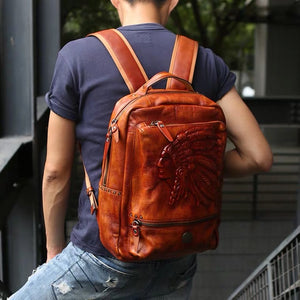 YAAGLE Mens' Unique Large Capacity Tanned Leather Travel Business Backpack YG0829