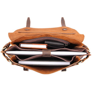 YAAGLE  Crazy Horse Leather Messenger Bag For Men Top Handle bag Laptop Bag YG7369 - YAAGLE.com