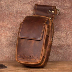 YAAGLE mens genuine leather small Hook Waist Bag Belt Pouch Fanny Pack for Cell Phone YG5547 - YAAGLE.com
