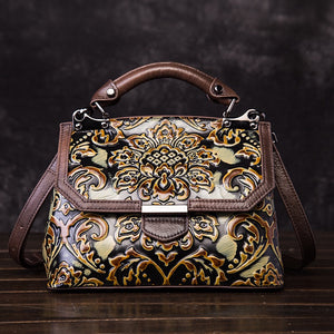 YAAGLE Women Genuine Leather handbags Ladies Embossed Shoulder Bag /Crossbody Bag YG6650