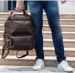 YAAGLE Men Brown Vintage Genuine Cow Leather 15 Inch Laptop Backpack YG8814 - YAAGLE.com