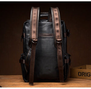 YAAGLE Top Quality Vintage stylish Black School Laptop Backpack waterproof genuine leather bag for Male YG6577 - YAAGLE.com