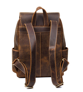 YAAGLE Vintage Unisex Crazy Horse Leather Travel Backpack YGB524 - YAAGLE.com