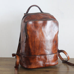 YAAGLE Vintage Unisex Genuine Leather Travel Backpack YGPD2115 - YAAGLE.com