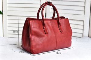 YAAGLE Women Large Capacity Multi-interlayers Tanned Leather Top-handle Bag YG8608 - YAAGLE.com