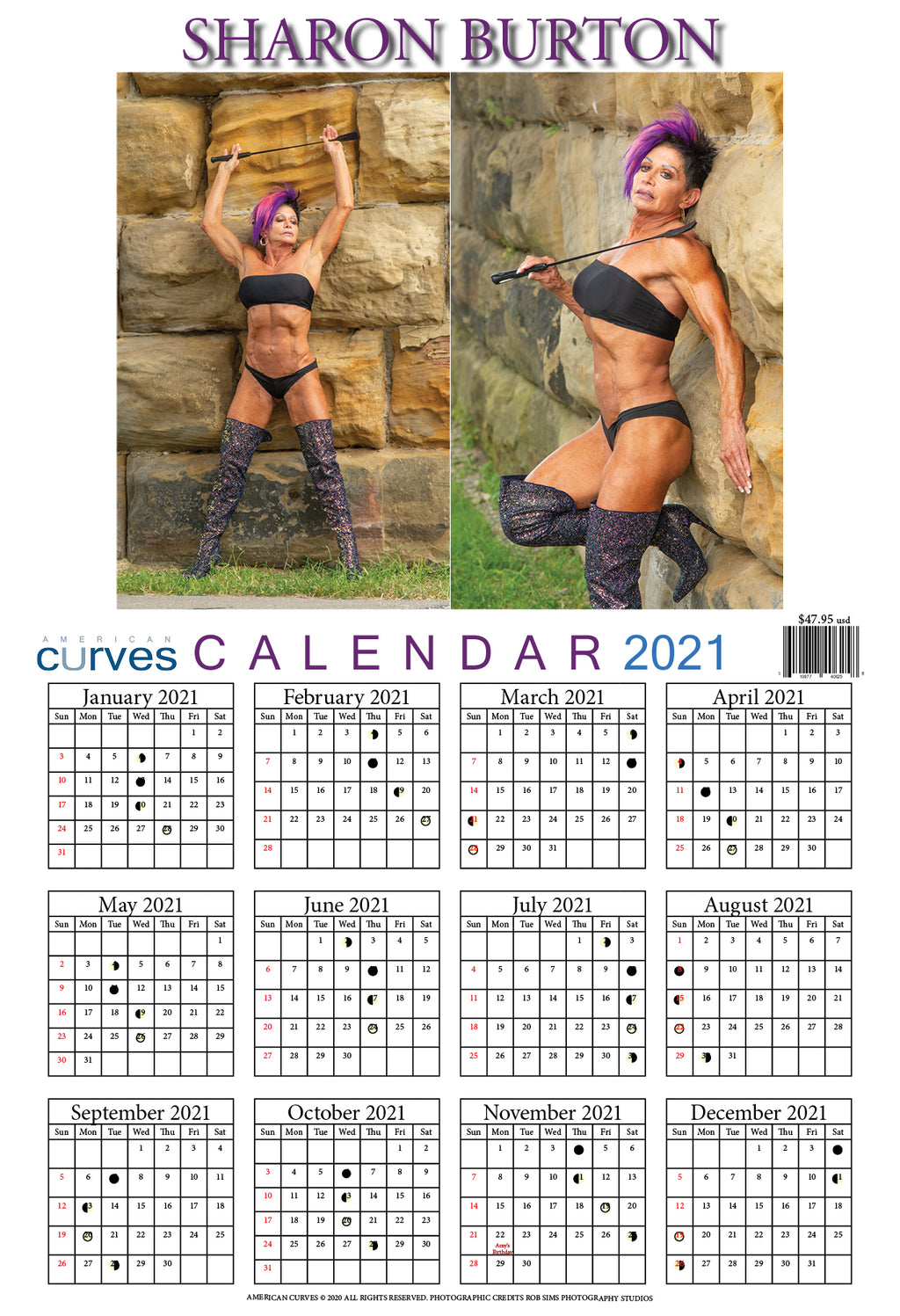 Sharon Burton 13x19 2021 year Wall Calendar (High Quality)