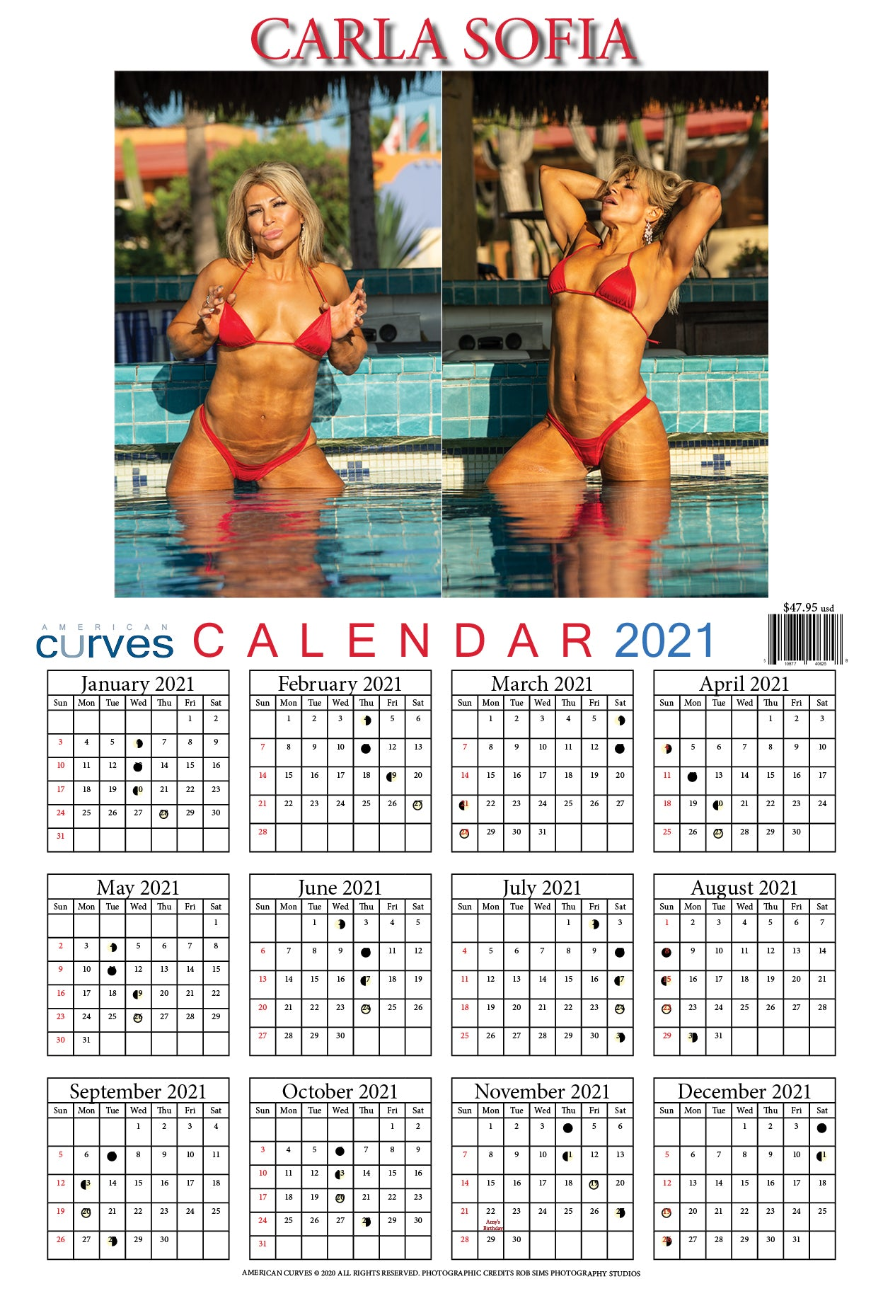 Carla Sofia-13x19 in. 2021 Wall Calendar on high-quality paper