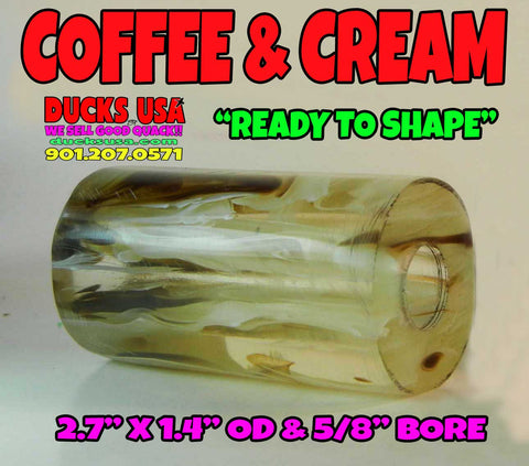 "ACRYLIC BARREL - COFFEE & CREAM Exotic Swirl 2.7"" x 1.4"" OD & 5/8"" Bore"