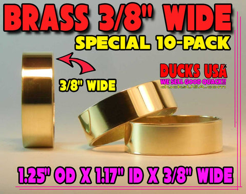 "BANDS - BRASS POLISHED 10-PACK - 1.25"" OD x 1.17"" ID x 3/8"" WIDE"