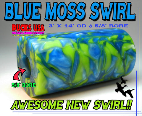 "ACRYLIC BARREL - BLUE MOSS Exotic Swirl 2.7"" x 1.4"" OD & 5/8"" Bore - 1 BARREL"