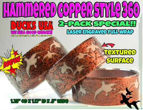 BANDS - 360 Flying Mallards HAMMERED COPPER Style Laser Engraved  2-PACK