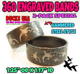 BANDS - 360 Flying Mallards HAMMERED STEEL Laser Engraved  2-PACK