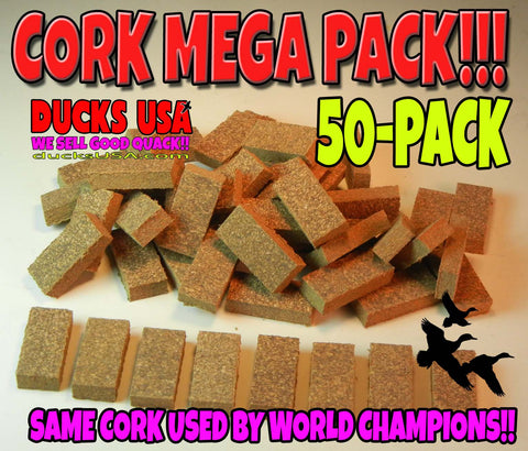 "CORK - Real Cork Wedges Same Style Used by World Champ Callers 3/16"" Big 50-PACK"