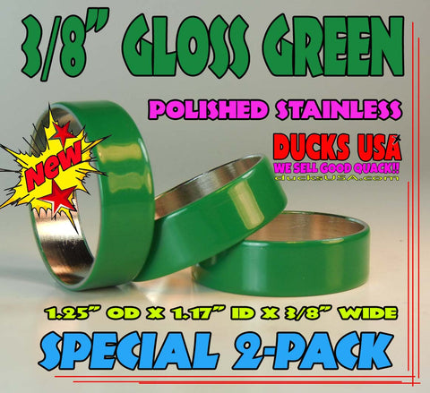 "BANDS - GREEN GLOSS 3/8"" WIDE Stainless 2-PACK Premium - 1.25"" OD x 1.17"" ID"