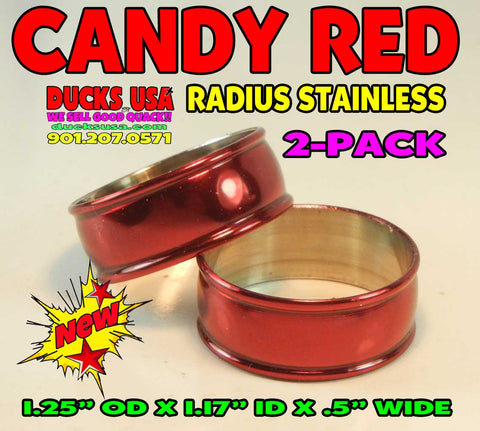 "BANDS - STAINLESS RADIUS CANDY APPLE RED 2-PACK 1.25"" OD x 1.17"" ID"