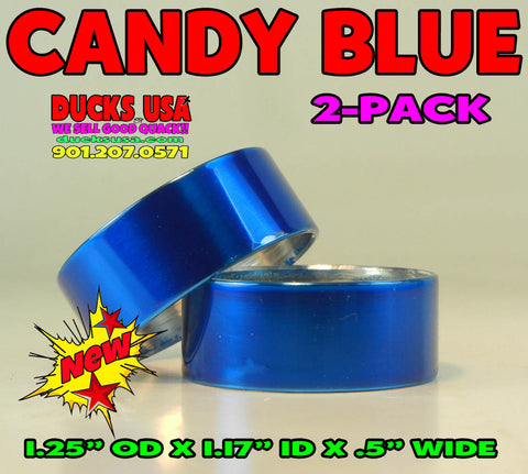 "BANDS - CANDY BLUE Aluminum Bands 2-PACK 1.25"" OD x 1.17"" ID"