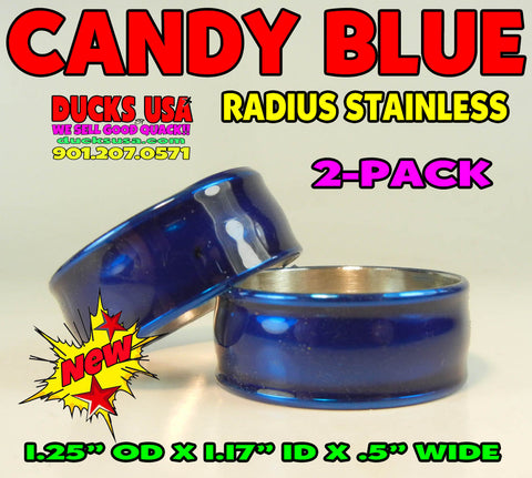 "BANDS - STAINLESS RADIUS CANDY BLUE Bands 2-PACK 1.25"" OD x 1.17"" X .5"" Wide"