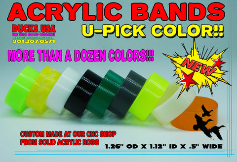 BANDS - ACRYLIC BANDS U-PICK COLOR Custom Made CNC Precision Top Quality 1-BAND