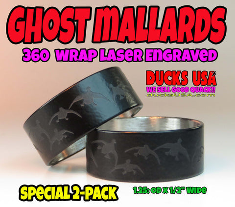 "BANDS - 360 Flying Ghost Mallards Full 360 Wrap 2-PACK 1.25"" OD x 1.17"" ID"