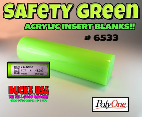 "ACRYLIC INSERT BLANK - SAFETY GREEN - 4"" X 1.125"" OD Solid Acrylic Blank Poly One #6533"