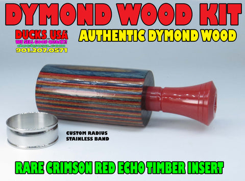 DUCK CALL KIT - DYMOND WOOD Authentic with RARE Crimson Red Echo & Stainless Bsand